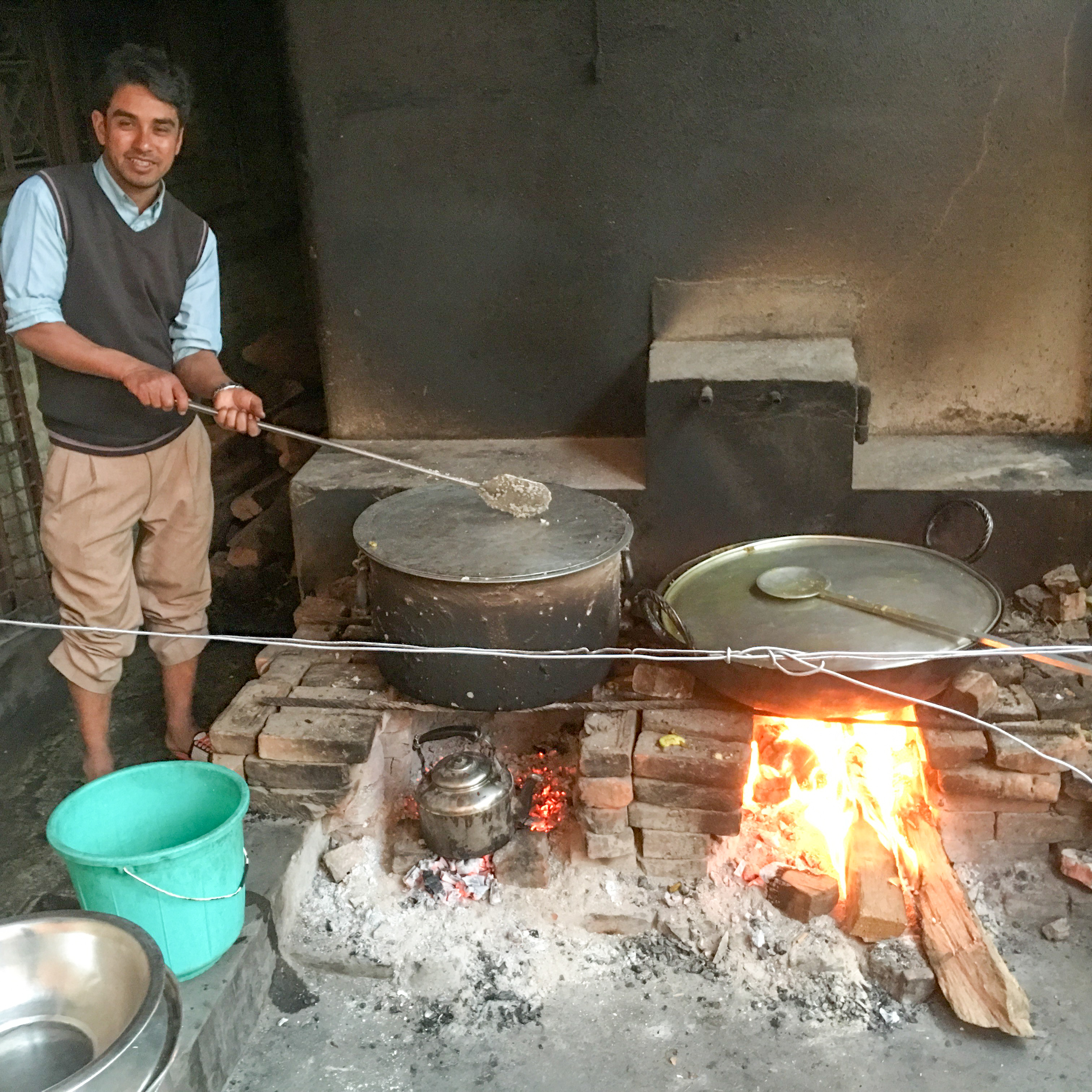 Cooking for 120 people with wood fire in Kathmandu, Nepal
