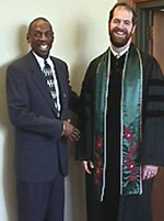 Author Geoffrey Canada with Rev. Marsh before Canada's guest sermon.